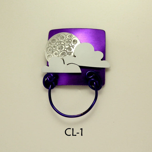 Handmade Magnetic Moon and Clouds Square Eyeglass or ID Holder - Laura Wilson Gallery
