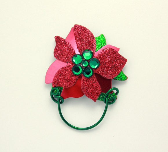 Magnetic Poinsettia Eyeglass, Sun Glass, I.D. Badger or Badge Reel  Holder - Laura Wilson Gallery
