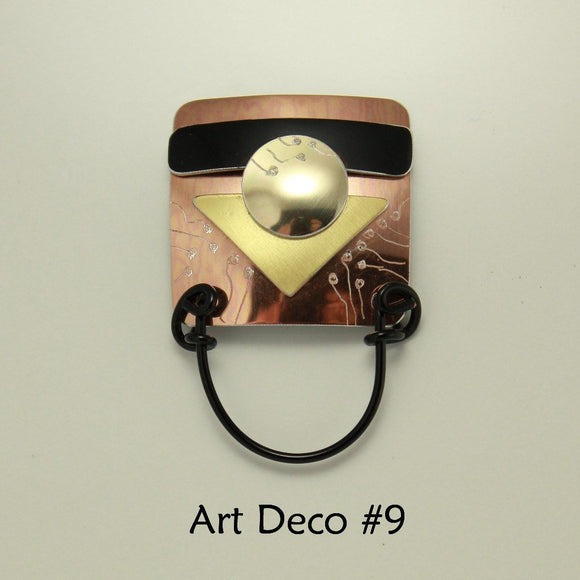 Handmade Abstract Art Deco Series Square Engraved Magnetic Eyeglass Holder - Laura Wilson Gallery