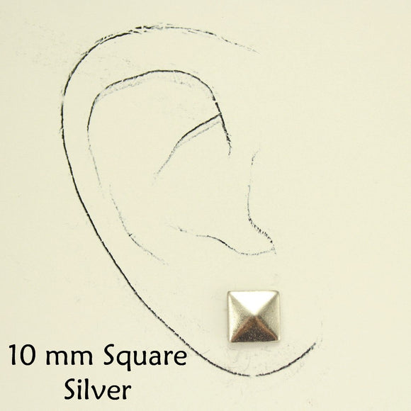 Silver Square Button Magnetic Earrings - Laura Wilson Gallery