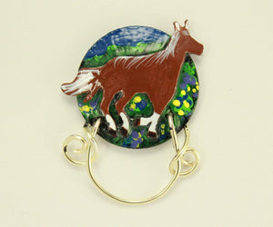 Handmade Hand Painted Horse Magnetic Non Piercing Eyeglass Holder Original Design - Laura Wilson Gallery