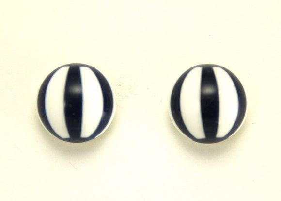Custom Made Magnetic Non Pierced or Pierced Navy Blue Striped Button Earrings