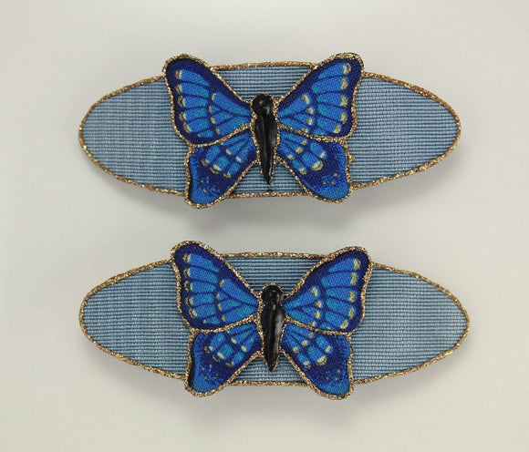 Matched Pair of Hand Painted Light Blue Butterfly Hair Barrettes - Laura Wilson Gallery