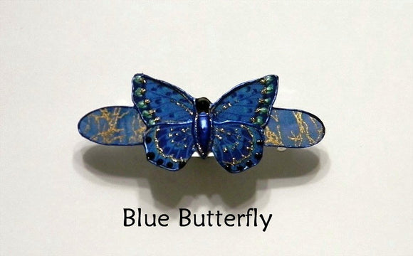 Handmade and Hand Painted Small Fabric Butterfly and Flower Hair Barrettes in 4 Styles - Laura Wilson Gallery