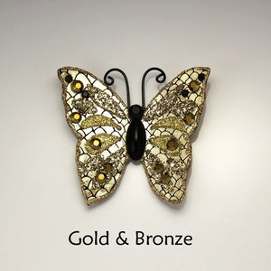 Handmade and Hand Painted Fabric Magnetic Butterfly Brooch with Swarovski Crystals - Laura Wilson Gallery