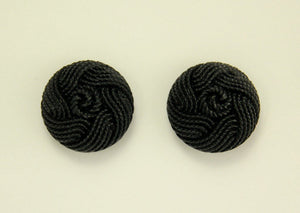Handmade 16 mm Black Knot Pattern Magnetic or Pierced Earrings - Laura Wilson Gallery