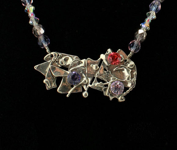 Handmade Spring Garden Fused Sterling Silver Necklace with Purple Beads - Laura Wilson Gallery