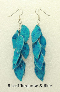 NEW Colors of Turquoise and Purple Dangle Fabric Earrings
