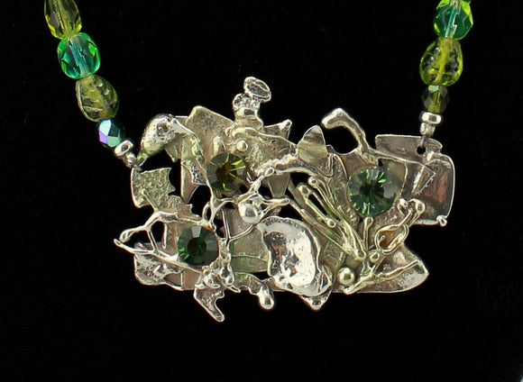Handmade Green Coral Reef One Of A Kind Sterling Silver and Beaded Necklace - Laura Wilson Gallery