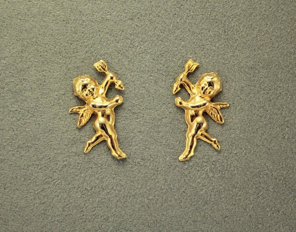 Handmade Gold Cherub or Cupid MagneticNon Pierced Clip Earring - Laura Wilson Gallery