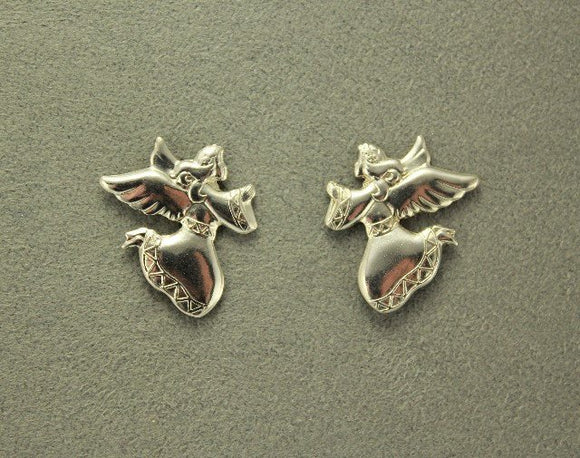 Silver or Gold Flying Angel Magnetic Non Pierced Clip or Pierced Earrings