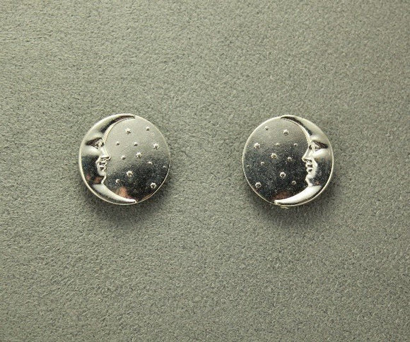 Round Button Silver or Gold Moon and Stars Magnetic Earring