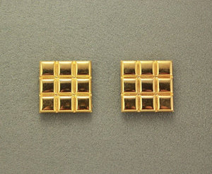 Classic Embossed 14 Karat Gold Plated Pillow 23 mm Square Magnetic Clip On or Pierced Earrings - Laura Wilson Gallery