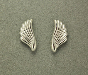 Small Wing Shaped Silver Magnetic Non Pierced Clip Earrings - Laura Wilson Gallery