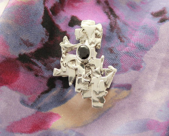 Handmade Original Design Magnetic Fused Silver and Garnet Brooch - Laura Wilson Gallery