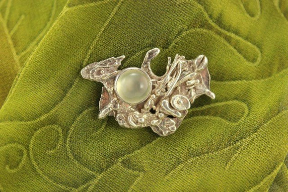 Handmade Moonstone Fused Silver Brooch