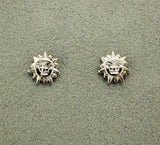 Silver 10 mm Tiny Sun/Lion Face Magnetic or Pierced Earrings - Laura Wilson Gallery