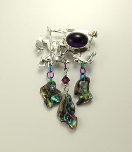 Handmade Original One of a Kind Amethyst and Paua Shell Sterling Silver Brooch and Pouch - Laura Wilson Gallery
