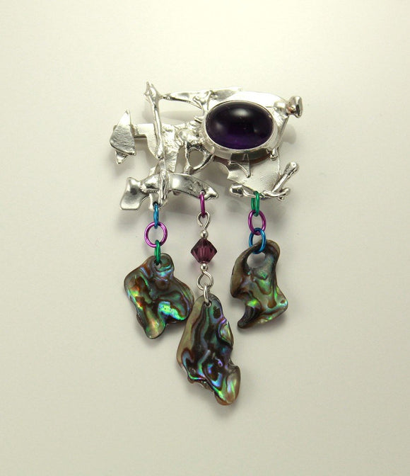 Handmade Original One of a Kind Amethyst and Paua Shell Sterling Silver Brooch and Pouch