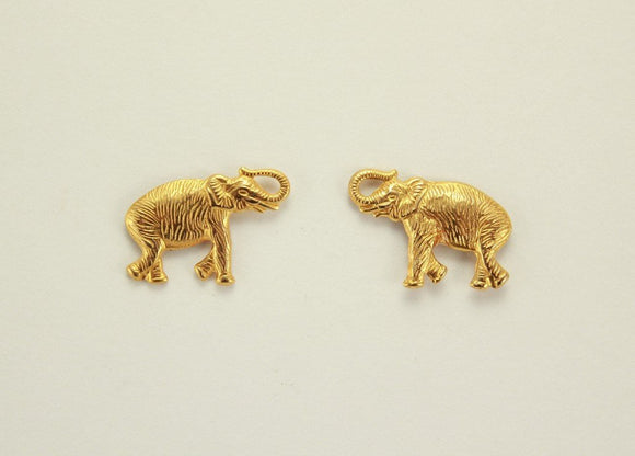 20 x 12 mm 14 Karat Gold Plated Brass Walking Elephant Magnetic Earring - Laura Wilson Gallery