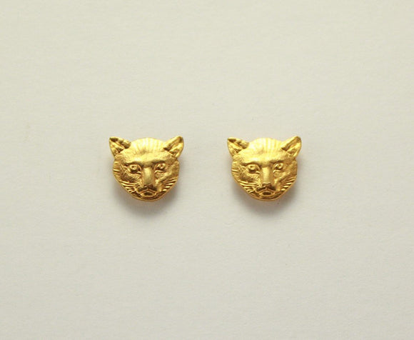 Tiny Cat Face Gold Plated  Magnetic Earrings - Laura Wilson Gallery