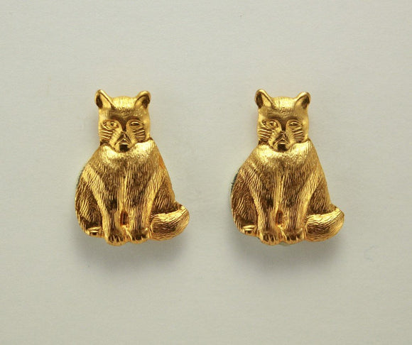 Fat Cat Gold or Silver Magnetic Earrings Fat Cat 15 x 20 mm - Laura Wilson Gallery