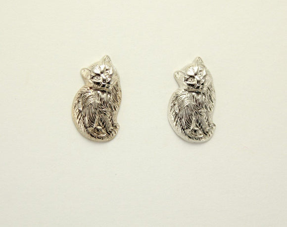 10 x 18 mm Silver Sitting Cat Magnetic Non Pierced Clip  Earrings - Laura Wilson Gallery