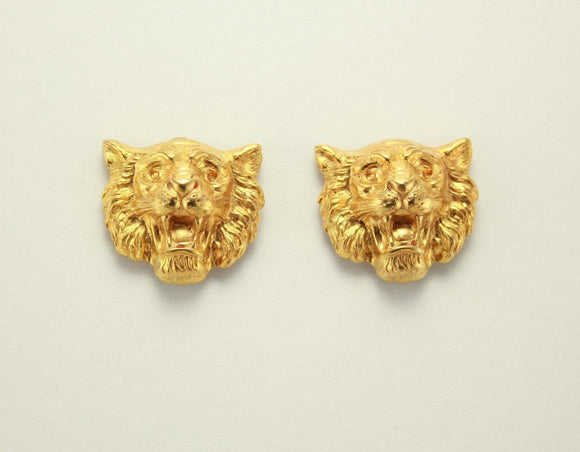 20 x 17 mm 14 Karat Gold Plated Liion Magnetic Non Pierced Clip Earrings - Laura Wilson Gallery