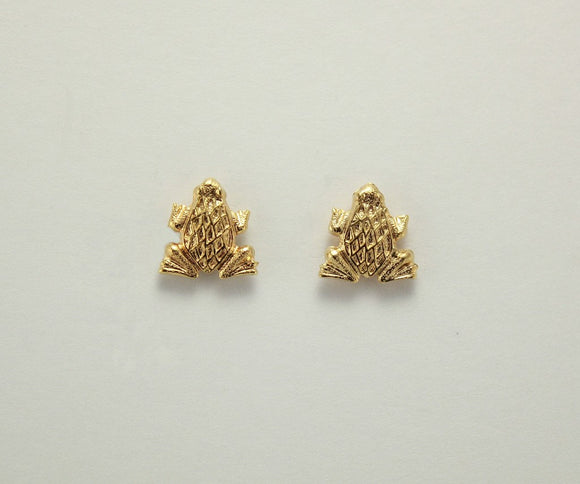 Spotted Frog 14 Karat Gold Plated Magnetic Earrings 10 x 11 mm