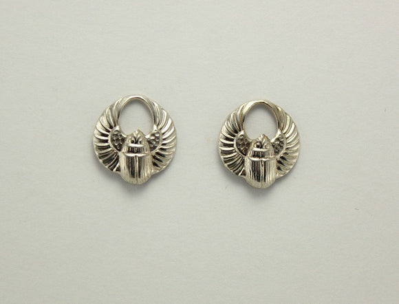 Silver Magnetic Egyptian Winged Scarab Earrings 13 x 15 mm