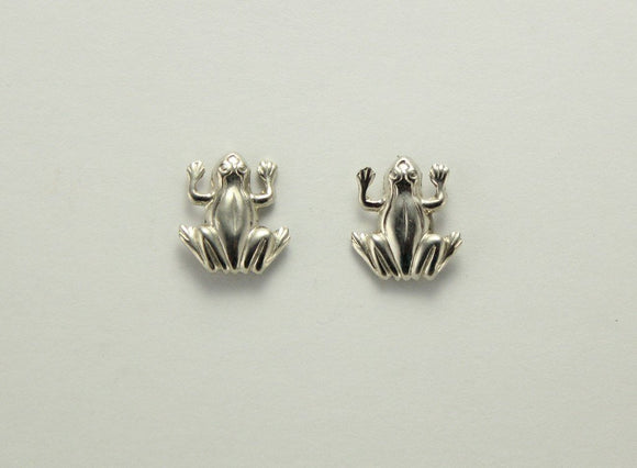 Tiny Silver Frog Magnetic Earrings