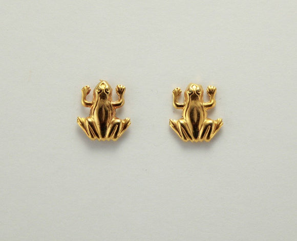 Tiny 14 Karat Gold Plated Frog Magnetic Non Pierced Clip Earrings