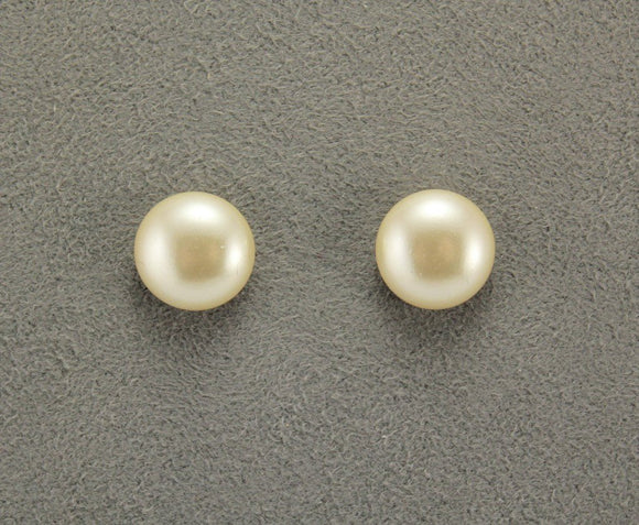 12 mm Low Dome Glass 1/3  Pearl Magnetic Earrings