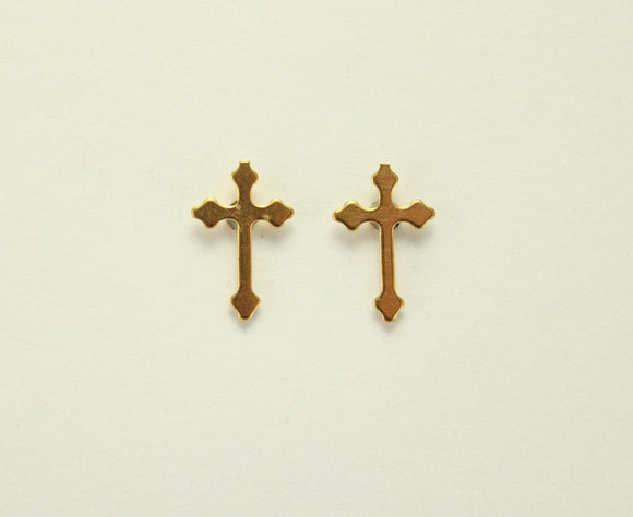 Gold Plated Tiny Magnetic Cross Earrings 10 x 15 mm - Laura Wilson Gallery