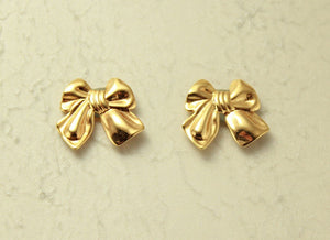 Magnetic Gold Plated Bow Earrings - Laura Wilson Gallery