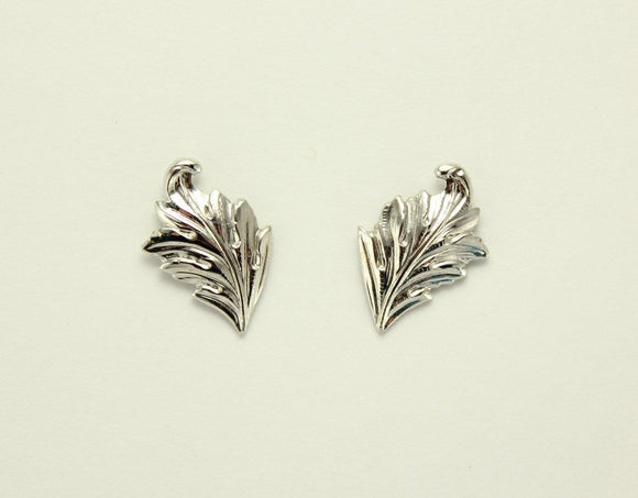 Tiny Gold Plated Curled Leaf Magnetic Earrings