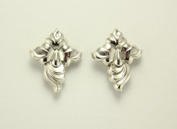 Silver Fuchsia Flower Magnetic Non Pierced Clip Earrings