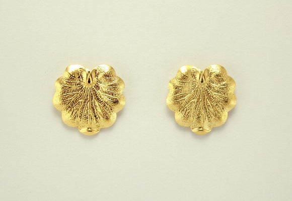 14 Karat Gold  Plated  Brass 20 x 23 mm Lily Pad Magnetic Earrings - Laura Wilson Gallery