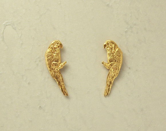 14 Karat Gold Plated Parrot Magnetic or Pierced Earrings - Laura Wilson Gallery