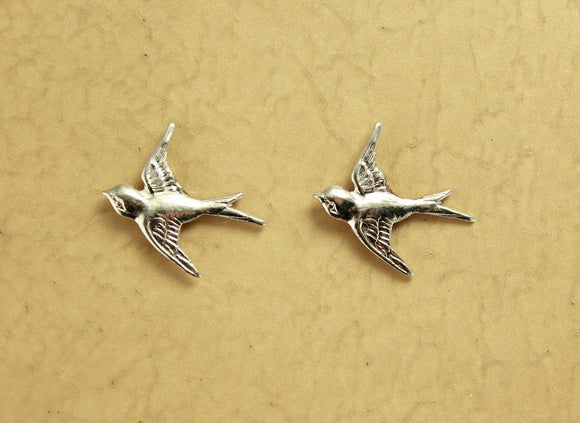 Magnetic Silver Flying Swallowtail Bird Clip On Earrings - Laura Wilson Gallery