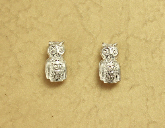 Tiny Silver Owl Magnetic Clip Earrings