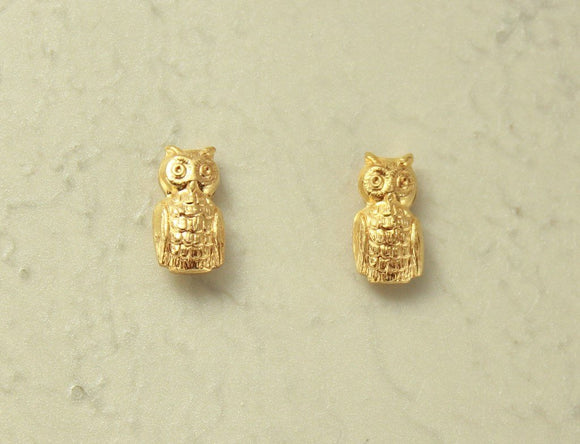 Handmade Magnetic Tiny Owl Clip On Earrings 14 Karat Gold Plated - Laura Wilson Gallery