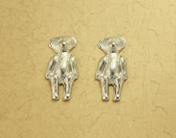 Teddy Bear Magnetic Clip Earrings in Imitation Rhodium Plate