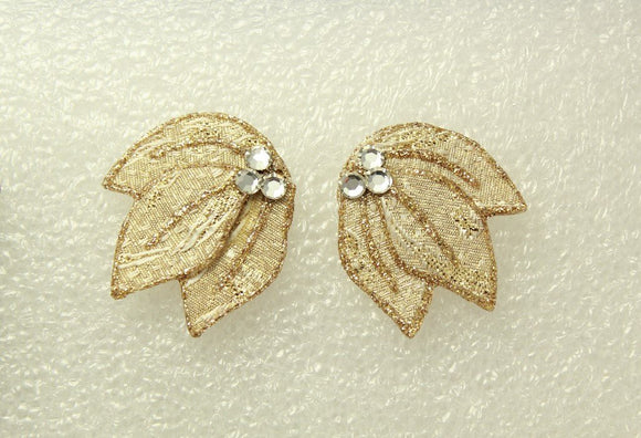 Golden Fabric Brocade Pierced Earrings
