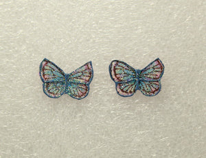 Hand Painted Butterfly Pierced or Magnetic Fabric Earrings