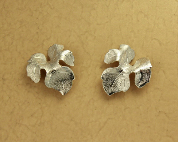 Nickel Plated 20 x 22 mm Brass  3-D Leaf Magnetic Earrings - Laura Wilson Gallery