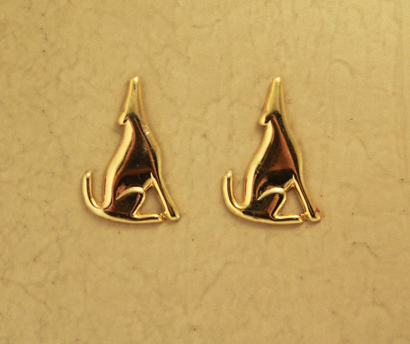 Gold Coyote Magnetic Clip Non Pierced Earrings - Laura Wilson Gallery