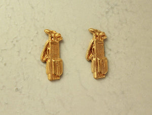 14 Karat Gold or Nickel Plated  Brass Golf Bag Magnetic or Pierced  Earrings - Laura Wilson Gallery