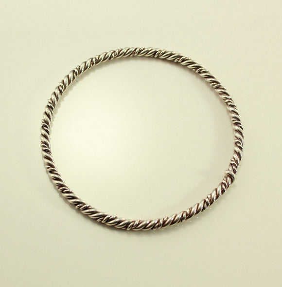 Vintage Twisted Sterling Silver Wire Bangle Bracelet no 10 - Laura Wilson Gallery