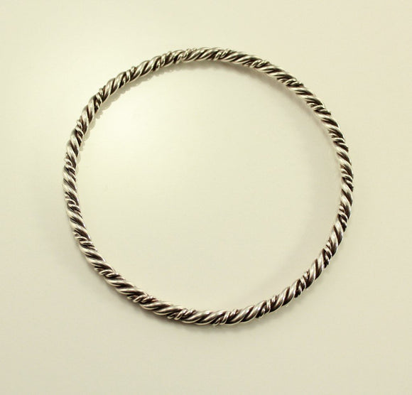 Vintage Sterling Silver Twisted Wire Bangle Bracelet no 11 - Laura Wilson Gallery